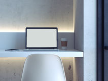 Minimalistic workplace with laptop. 3d rendering Royalty Free Stock Image