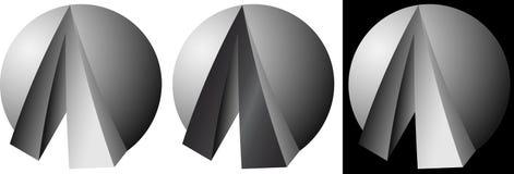 Minimalisticabstractie van het bal en van het driehoekenontwerp bedrijfsembleem Royalty-vrije Stock Foto's
