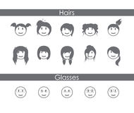 Minimalistical Female Emoticons Royalty Free Stock Image