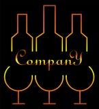Minimalisticembleem voor alcoholzaken drie glazen en flessenontwerp Stock Foto's