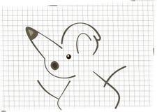 Minimalisticillustratie van muis tegen de achtergrond van het geregelde document blad Royalty-vrije Stock Foto's