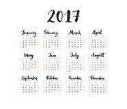 Minimalistickalender, het jaar van 2017 De week begint Zondag Met de hand geschreven maanden Zwart-wit eenvoudig ontwerp, één bla Stock Foto's