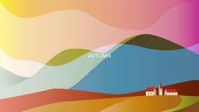 Minimalisticlandschap met hoge heuvels en huizen onder hun SL stock illustratie
