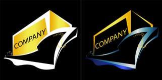 Minimalisticschip met van de bedrijfs ladings marien lading embleem Stock Afbeeldingen