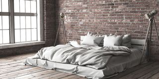 Minimalistik sovrumåtlöje upp i vindstil stock illustrationer