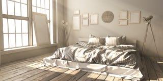 Minimalistik sovrumorientering i vindstil i strålarna av sunligh stock illustrationer