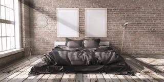 Minimalistik sovrumorientering i vindstil i strålarna av sunligh royaltyfri illustrationer