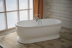Minimalistisch badkamersbinnenland Bad in het midden van de heldere ruimte op het venster Royalty-vrije Stock Afbeeldingen