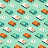 Minimalistisch patroon, creatieve achtergrond met isometrische boeken, literatuur en poëzie stock illustratie