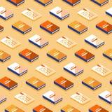 Minimalistisch patroon, creatieve achtergrond met isometrische boeken, literatuur en poëzie vector illustratie