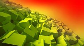 Minimalistische, abstracte achtergrond met kubussen, neonlicht vector illustratie