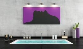 Minimalistische badkamers met gedaald bad Royalty-vrije Stock Afbeelding