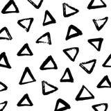 Minimalistische borstel geschilderde driehoeks zwart-witte achtergrond Stock Fotografie