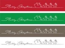 Minimalistische die Kerstmisbanner van met één enkele lijn wordt gemaakt Royalty-vrije Stock Afbeeldingen