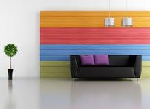 Minimalistische kleurrijke zitkamer Royalty-vrije Stock Foto