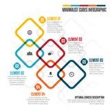 Minimalistische Kubussen Infographic Royalty-vrije Stock Afbeeldingen