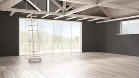 Minimalistische mezzanine zolder, lege industriële ruimte, houten roofin royalty-vrije stock afbeelding