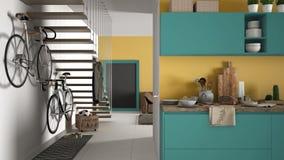 Minimalistische moderne keuken met gezond ontbijt, woonkamer en houten trap, eigentijdse gele en turkooise binnenlandse des stock afbeeldingen