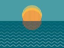 Minimalistische Mooie Zonsondergang over Oceaan stock afbeelding