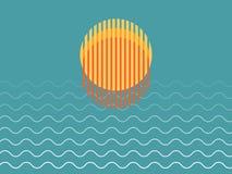 Minimalistische Mooie Zonsondergang over Oceaan stock foto's