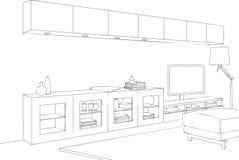Minimalistische TV-Zaal Vectorlijn Art Illustration Stock Foto