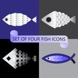 Minimalistische vectorreeks van vier gestileerde vissenpictogrammen royalty-vrije stock foto's