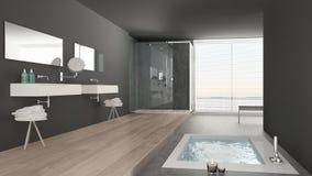 Minimalistische witte en grijze badkamers met badton en panoramisch stock afbeeldingen