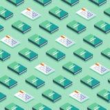 Minimalisty wzór, kreatywnie tło z isometric książkami, literatura i poezja, ilustracja wektor