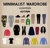 Minimalistyczna garderoba ustawiająca - jesień Obraz Royalty Free