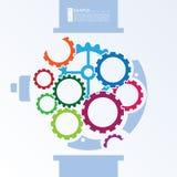 Minimalistyczna ilustracja zegarki z colourful Cogwheel przekładnią Obrazy Royalty Free