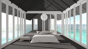 Minimalistyczna sypialnia z dużymi okno, witrażem i tarasem o, ilustracja wektor