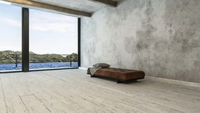 Minimalistyczny apartamentu na najwyższym piętrze pokój z ławka widokiem i kanapą zdjęcie royalty free