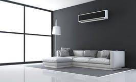Minimalistyczny czarny i biały żywy pokój Zdjęcia Stock