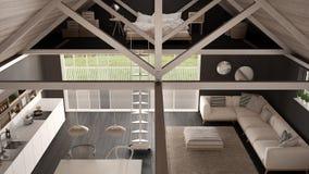 Minimalistyczny mezoninu loft, kuchnia, utrzymanie i sypialnia, drewniany r Obraz Royalty Free