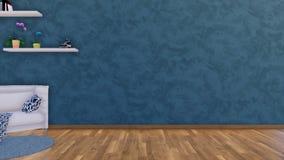 Minimalistyczny wnętrze z pustym zmrokiem - błękit ścienny 3D ilustracja wektor