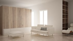 Minimalizm, nowożytny żywy pokój z drewnianą ścianą, kanapa, bryczki longue i pouf, trawertyn marmurowa podłoga, biały wnętrze zdjęcie stock