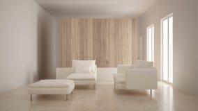 Minimalizm, nowożytny żywy pokój z drewnianą ścianą, kanapa, bryczki longue i pouf, trawertyn marmurowa podłoga, biały wnętrze obrazy stock