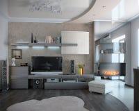 Minimalizmu siedzący pokój, 3D odpłaca się Obraz Royalty Free