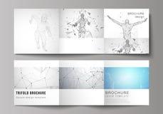 Minimalna wektorowa ilustracja editable układ Nowożytne kreatywnie pokrywy projektują szablony dla trifold kwadratowej broszurki  royalty ilustracja