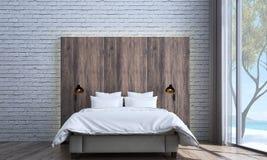 Minimalnej sypialni wewnętrznego projekta, ściana z cegieł tekstury tło i Zdjęcie Stock