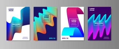 Minimalni ciecz pokrywy projekty ustawiający Przyszłościowi Plakatowi szablony z Rzadkopłynnym kształta składem z gładkim gradien ilustracji