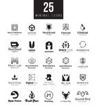 Minimalni loga projekta szablony inkasowi Duży set czarny i biały symbole na różnych tematach Obraz Royalty Free