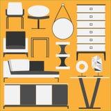 Minimalni meblarscy i Domowi akcesoria Ilustracji