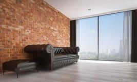 Minimalny żywy izbowy wewnętrznego projekta i ściana z cegieł deseniowy tło Zdjęcie Stock