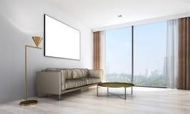Minimalny żywy izbowy wewnętrzny projekt i siwieje ściany deseniowego tło i miasto widok Zdjęcia Royalty Free