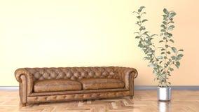 Minimalny żywy pokój z brąz pomarańcze i kanapy rzemienną ścienną 3D ilustracją ilustracji
