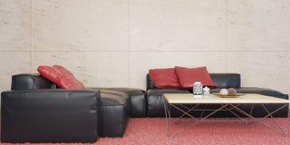 Minimalny żywy pokój z czarnym rzemiennym kanapa setem i marmur ścienną 3D ilustracją ilustracji
