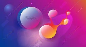 Minimalny abstrakta 3d kształta fluid i ciekłego gradientu kolorowy tło dla układu, sztandar, plakat, szablon, ulotka royalty ilustracja