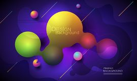 Minimalny abstrakta 3d kształta fluid i ciekłego gradientu kolorowy tło dla układu, sztandar, plakat, szablon, ulotka ilustracja wektor