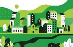 Minimalny pejza? miejski Mieszkanie krajobraz z geometrycznymi budynkami i natury środowiskiem, miasto ulicy wzór Wektorowa geome royalty ilustracja